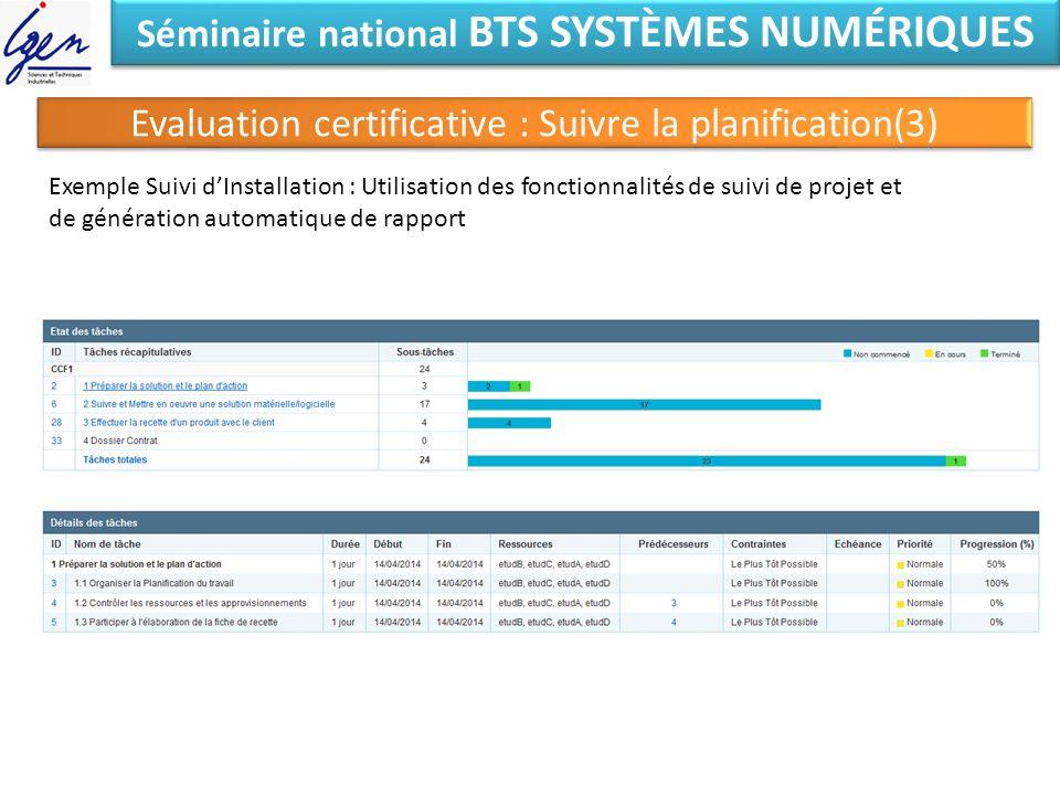 Séminaire national BTS SYSTÈMES NUMÉRIQUES Evaluation certificative : Suivre la planification(3) Exemple Suivi dInstallation : Utilisation des fonctio
