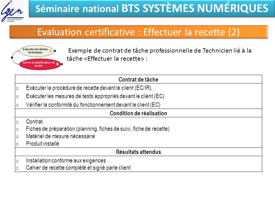 Séminaire national BTS SYSTÈMES NUMÉRIQUES Evaluation certificative : Effectuer la recette (2) Exemple de contrat de tâche professionnelle de Technici