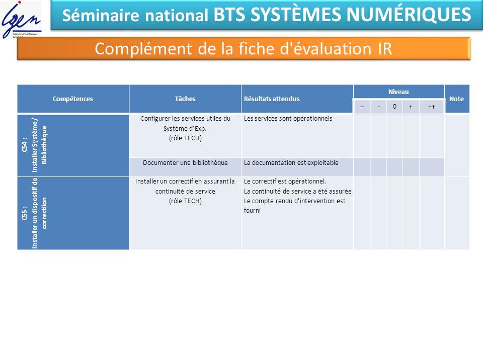 Séminaire national BTS SYSTÈMES NUMÉRIQUES Complément de la fiche d'évaluation IR CompétencesTâchesRésultats attendus Niveau Note ---0+++ C54 : Instal