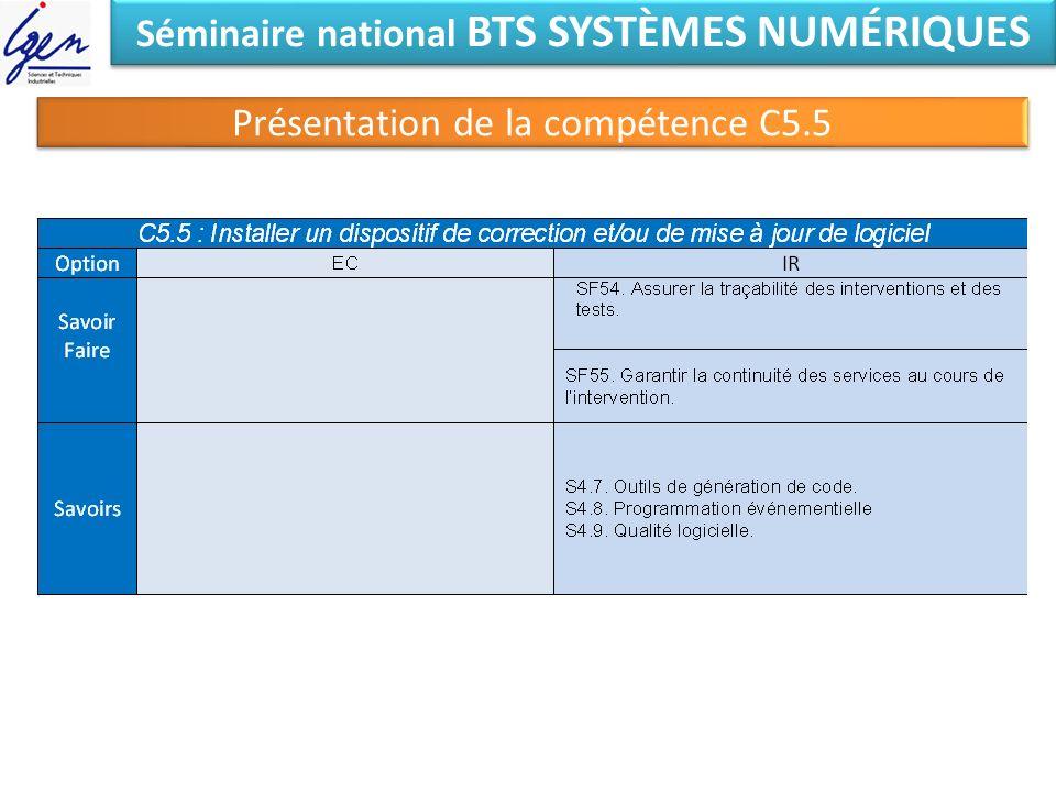 Séminaire national BTS SYSTÈMES NUMÉRIQUES Présentation de la compétence C5.5