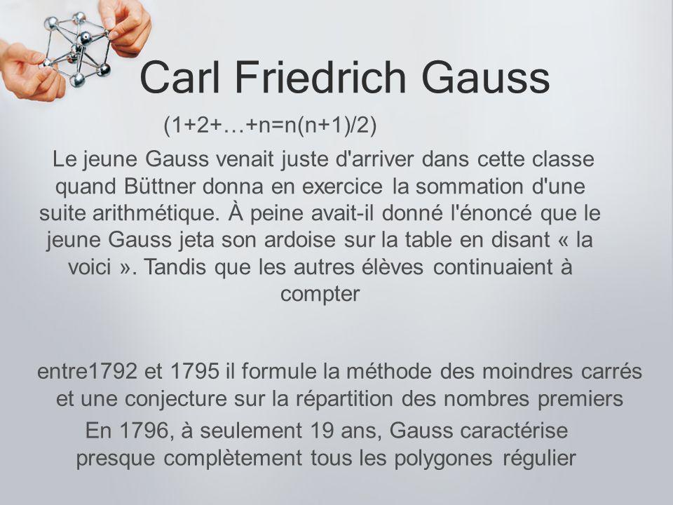 Carl Friedrich Gauss entre1792 et 1795 il formule la méthode des moindres carrés et une conjecture sur la répartition des nombres premiers En 1796, à