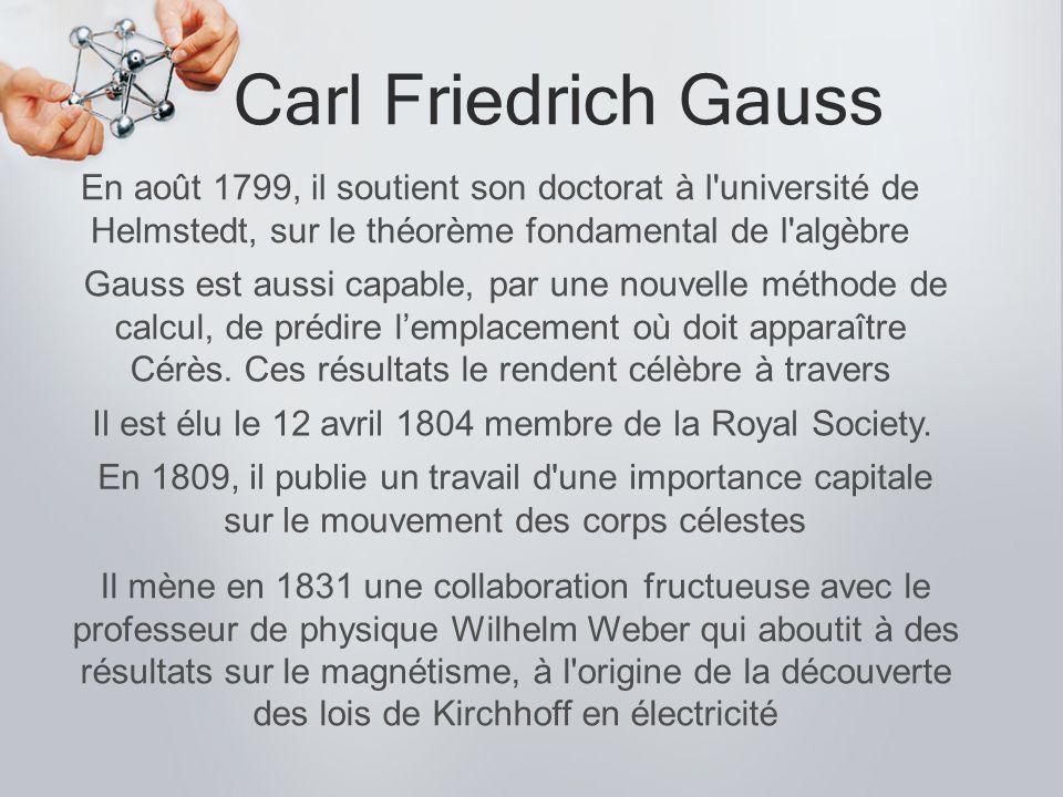 Carl Friedrich Gauss La loi de Gauss pour les champs électriques exprime qu une charge électrique crée un champ électrique divergent.