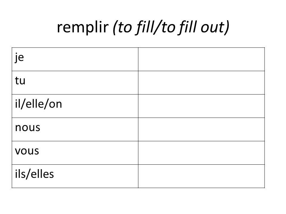remplir (to fill/to fill out) je tu il/elle/on nous vous ils/elles