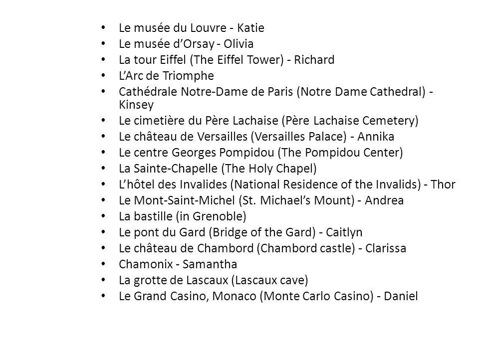 Le musée du Louvre - Katie Le musée dOrsay - Olivia La tour Eiffel (The Eiffel Tower) - Richard LArc de Triomphe Cathédrale Notre-Dame de Paris (Notre