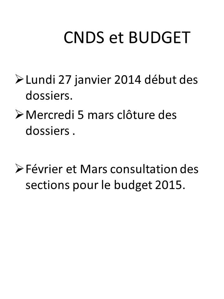 CNDS et BUDGET Lundi 27 janvier 2014 début des dossiers.