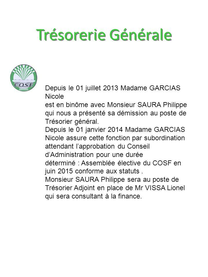 Trésorerie Générale Depuis le 01 juillet 2013 Madame GARCIAS Nicole est en binôme avec Monsieur SAURA Philippe qui nous a présenté sa démission au poste de Trésorier général.