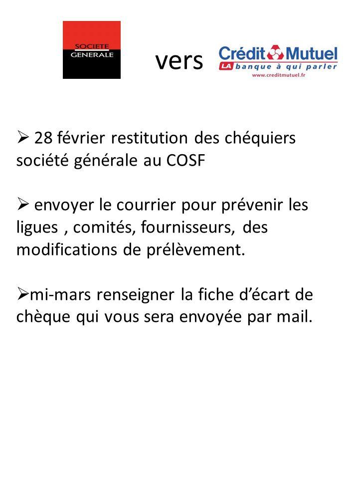 vers 28 février restitution des chéquiers société générale au COSF envoyer le courrier pour prévenir les ligues, comités, fournisseurs, des modifications de prélèvement.