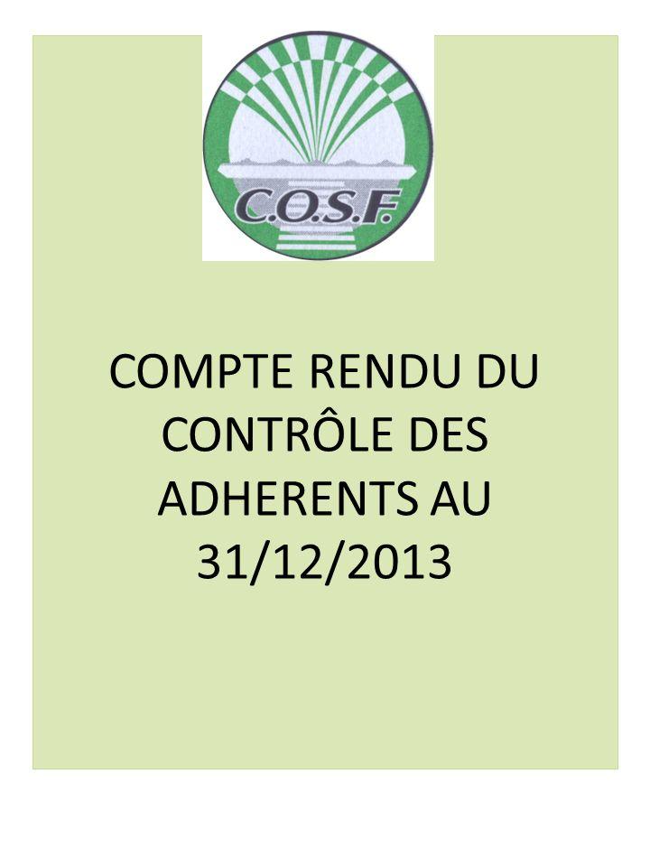 COMPTE RENDU DU CONTRÔLE DES ADHERENTS AU 31/12/2013