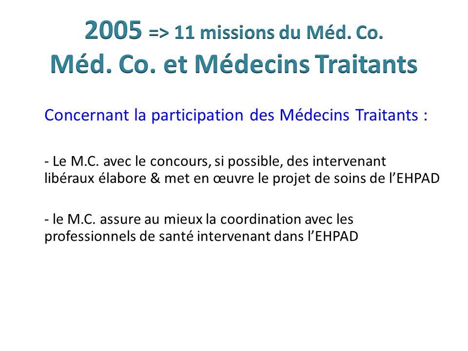 Concernant la participation des Médecins Traitants : - Le M.C. avec le concours, si possible, des intervenant libéraux élabore & met en œuvre le proje