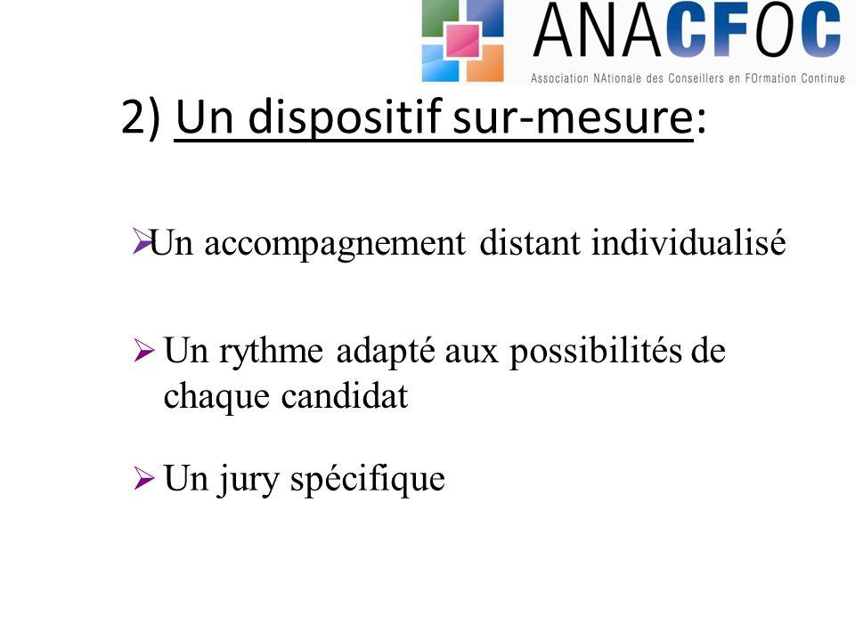 2) Un dispositif sur-mesure: Un accompagnement distant individualisé Un rythme adapté aux possibilités de chaque candidat Un jury spécifique