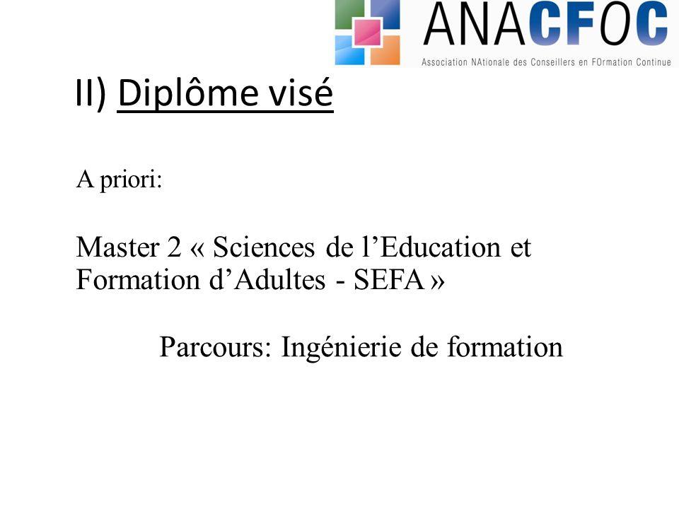 II) Diplôme visé Master 2 « Sciences de lEducation et Formation dAdultes - SEFA » A priori: Parcours: Ingénierie de formation