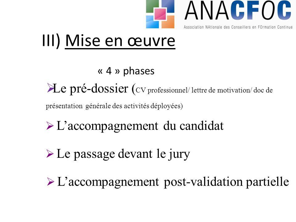 III) Mise en œuvre Le pré-dossier ( CV professionnel/ lettre de motivation/ doc de présentation générale des activités déployées) Laccompagnement du c