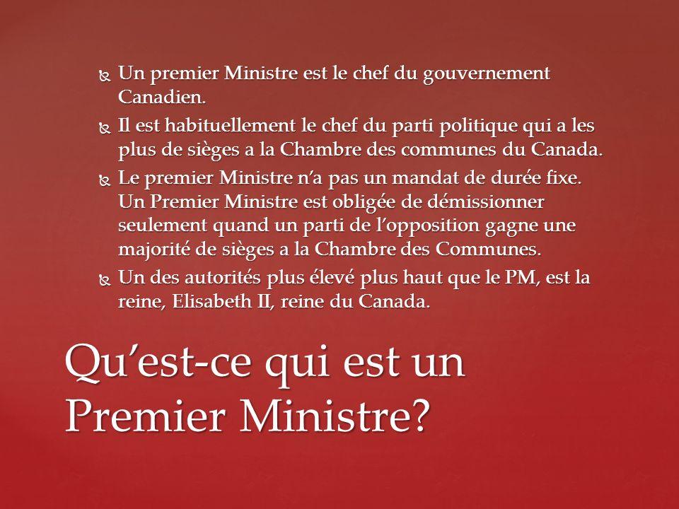 Un premier Ministre est le chef du gouvernement Canadien. Un premier Ministre est le chef du gouvernement Canadien. Il est habituellement le chef du p
