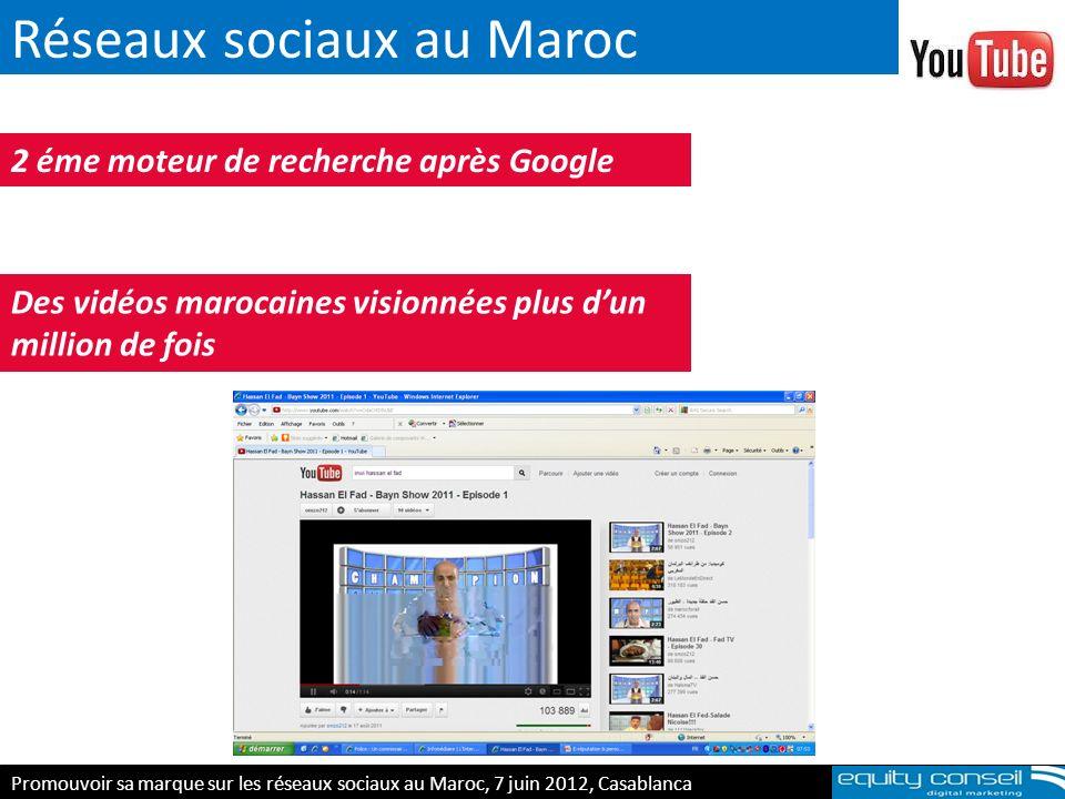 Réseaux sociaux au Maroc 2 éme moteur de recherche après Google Des vidéos marocaines visionnées plus dun million de fois Promouvoir sa marque sur les
