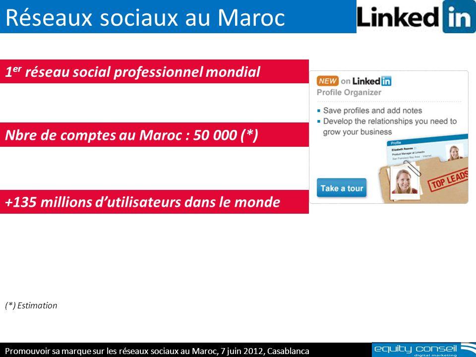 Réseaux sociaux au Maroc E-réputation & personal branding, 5 avril 2012 1 er réseau social professionnel mondial Nbre de comptes au Maroc : 50 000 (*)