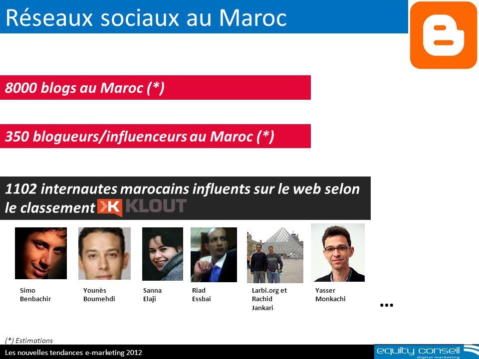 Réseaux sociaux au Maroc E-réputation & personal branding, 5 avril 2012 8000 blogs au Maroc (*) 1102 internautes marocains influents sur le web selon
