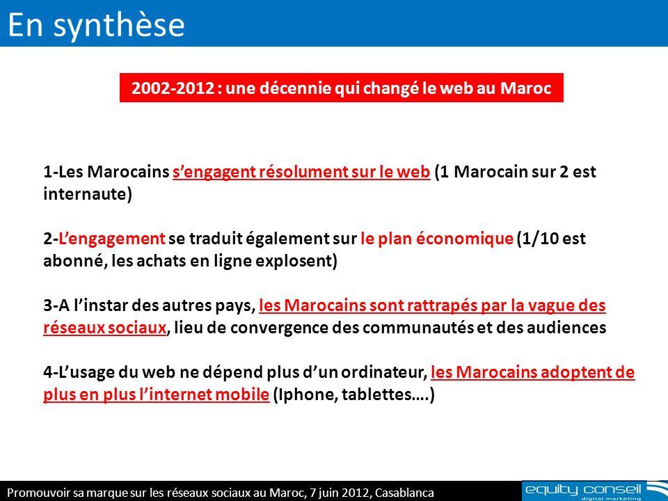 En synthèse E-réputation & personal branding, 5 avril 2012 2002-2012 : une décennie qui changé le web au Maroc 1-Les Marocains sengagent résolument su