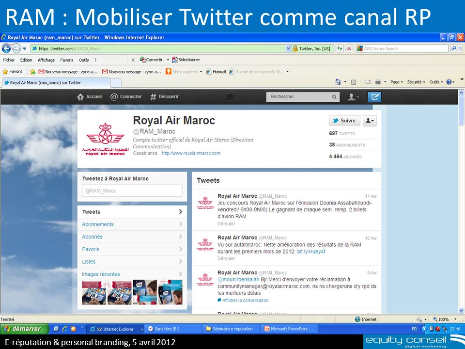 RAM : Mobiliser Twitter comme canal RP E-réputation & personal branding, 5 avril 2012 (*)