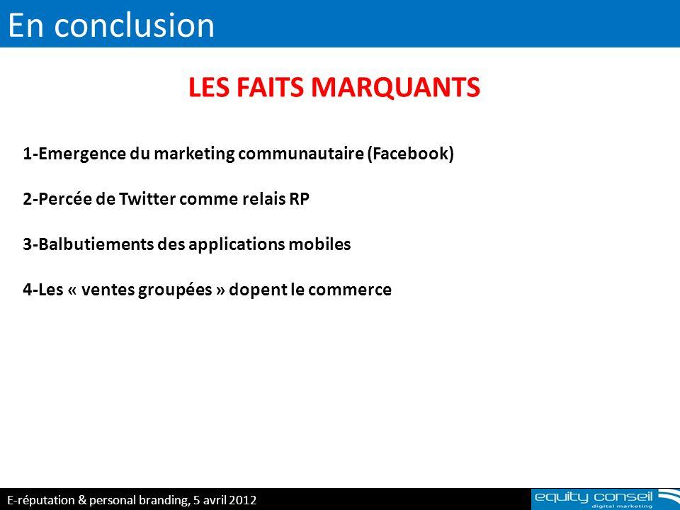 En conclusion E-réputation & personal branding, 5 avril 2012 (*) LES FAITS MARQUANTS 1-Emergence du marketing communautaire (Facebook) 2-Percée de Twi