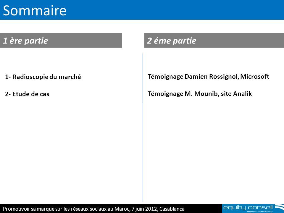 Sommaire 1 ère partie2 éme partie Promouvoir sa marque sur les réseaux sociaux au Maroc, 7 juin 2012, Casablanca 1- Radioscopie du marché 2- Etude de
