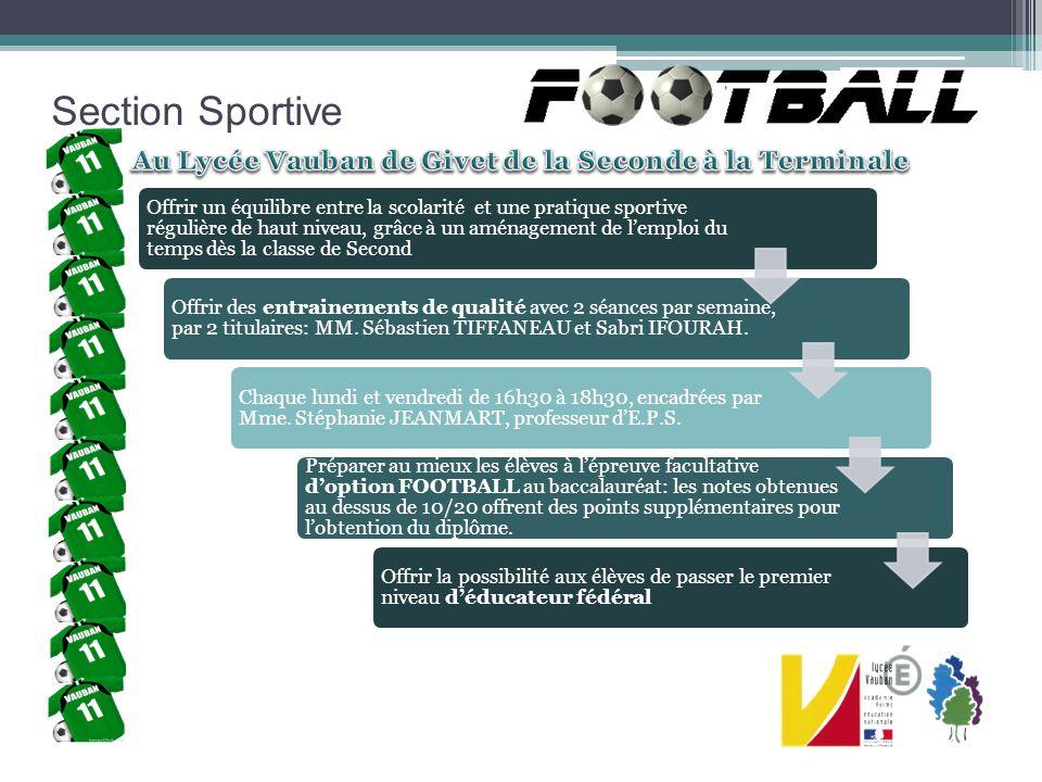 Section Sportive Dans le cadre de la promotion pour louverture de la section, le 1 er tournoi inter collège/lycée a été organisé le 17 avril 2013