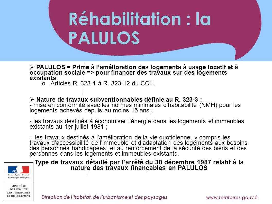 www.territoires.gouv.fr Ministère de l'Égalité des Territoires et du Logement Direction de lhabitat, de lurbanisme et des paysages PALULOS = Prime à l