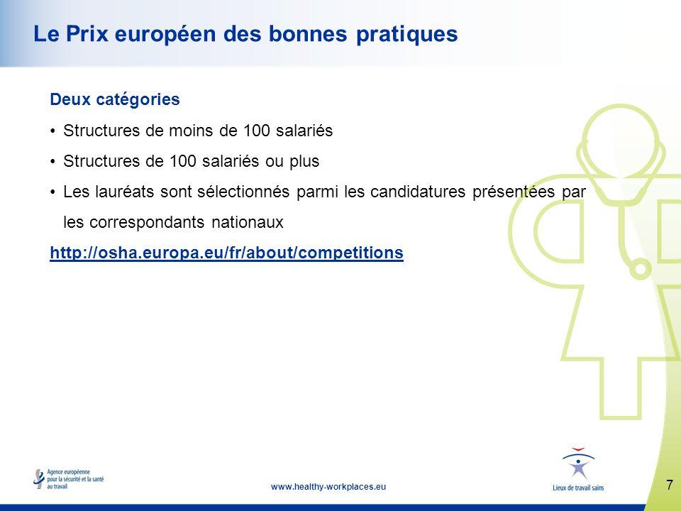 7 www.healthy-workplaces.eu Le Prix européen des bonnes pratiques Deux catégories Structures de moins de 100 salariés Structures de 100 salariés ou plus Les lauréats sont sélectionnés parmi les candidatures présentées par les correspondants nationaux http://osha.europa.eu/fr/about/competitions