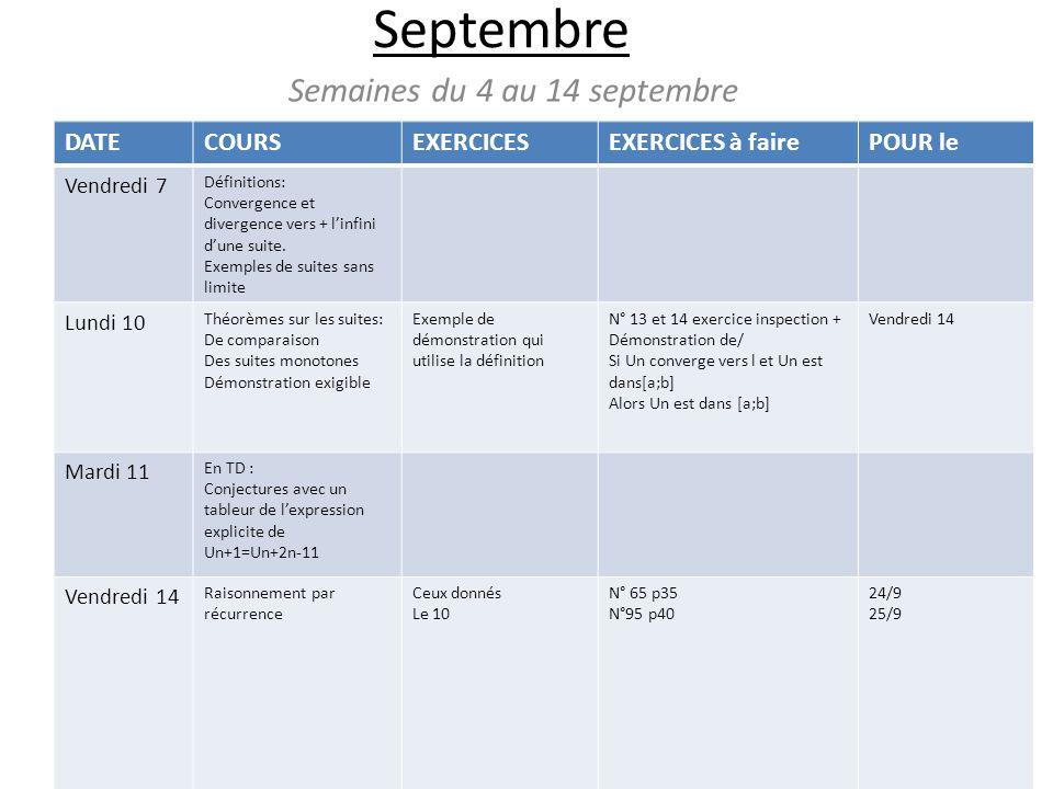 Septembre Semaines du 4 au 14 septembre DATECOURSEXERCICESEXERCICES à fairePOUR le Vendredi 7 Définitions: Convergence et divergence vers + linfini dune suite.