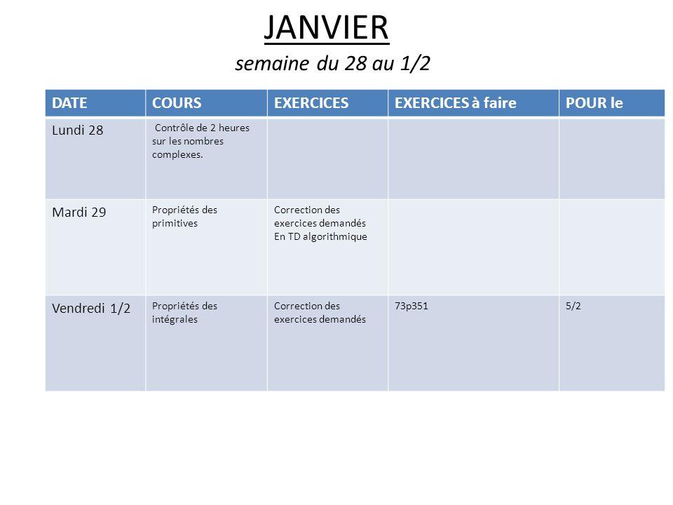 JANVIER semaine du 28 au 1/2 DATECOURSEXERCICESEXERCICES à fairePOUR le Lundi 28 Contrôle de 2 heures sur les nombres complexes.