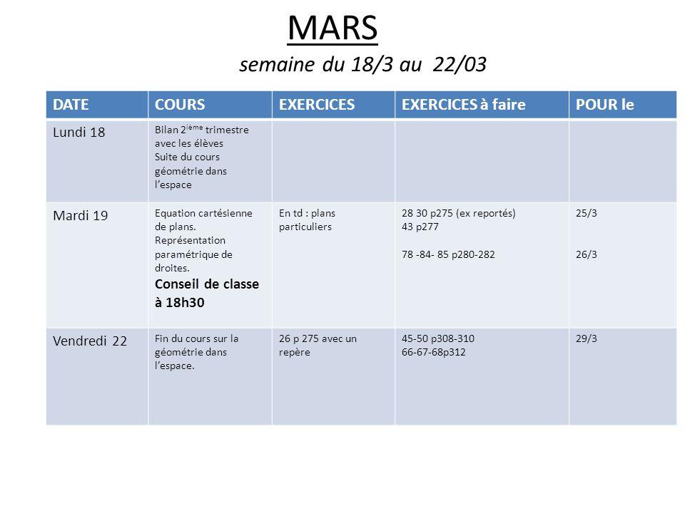 MARS semaine du 18/3 au 22/03 DATECOURSEXERCICESEXERCICES à fairePOUR le Lundi 18 Bilan 2 ième trimestre avec les élèves Suite du cours géométrie dans lespace Mardi 19 Equation cartésienne de plans.