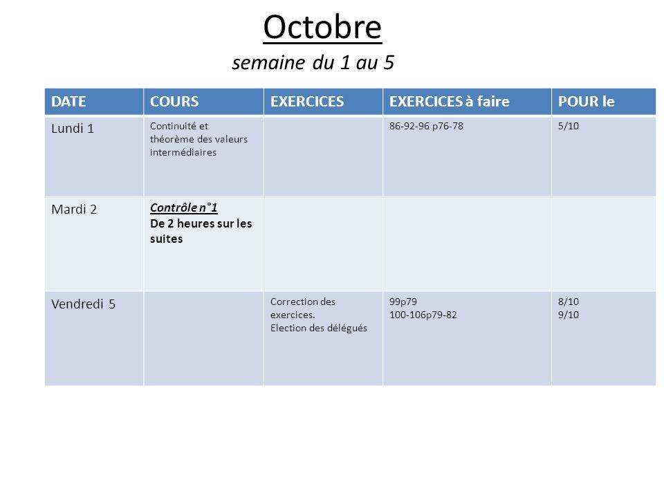 Octobre semaine du 1 au 5 DATECOURSEXERCICESEXERCICES à fairePOUR le Lundi 1 Continuité et théorème des valeurs intermédiaires 86-92-96 p76-785/10 Mardi 2 Contrôle n°1 De 2 heures sur les suites Vendredi 5 Correction des exercices.