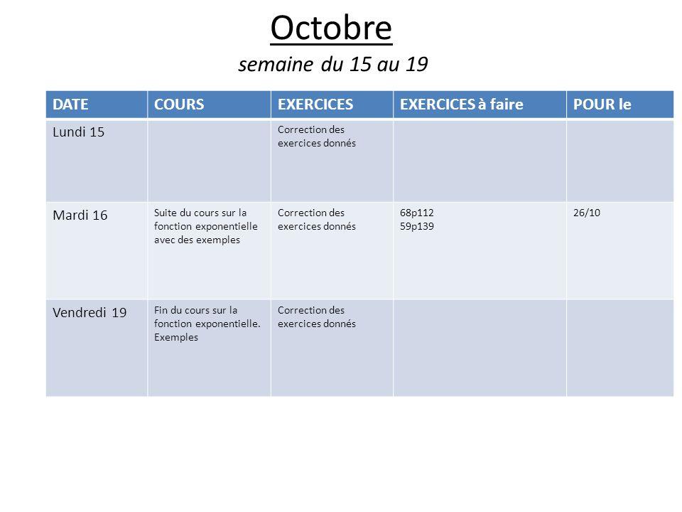 Octobre semaine du 15 au 19 DATECOURSEXERCICESEXERCICES à fairePOUR le Lundi 15 Correction des exercices donnés Mardi 16 Suite du cours sur la fonction exponentielle avec des exemples Correction des exercices donnés 68p112 59p139 26/10 Vendredi 19 Fin du cours sur la fonction exponentielle.