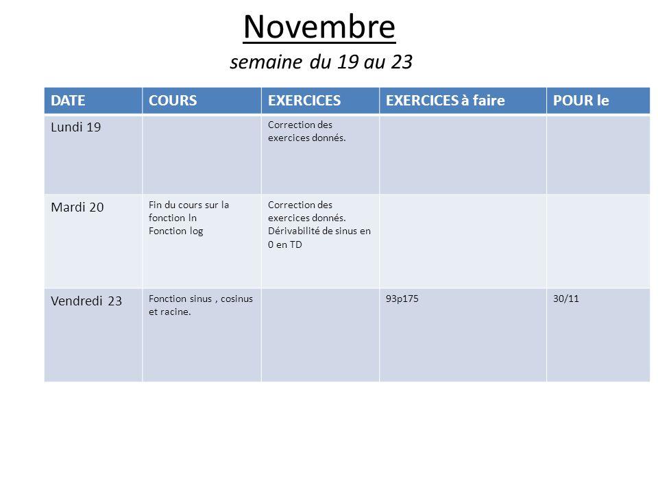 Novembre semaine du 19 au 23 DATECOURSEXERCICESEXERCICES à fairePOUR le Lundi 19 Correction des exercices donnés.