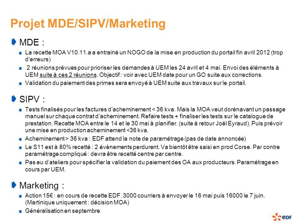 Projet MDE/SIPV/Marketing MDE : La recette MOA V10.11.a a entrainé un NOGO de la mise en production du portail fin avril 2012 (trop derreurs) 2 réunio