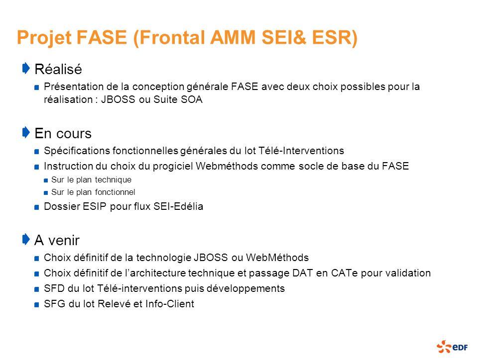 Projet FASE (Frontal AMM SEI& ESR) Réalisé Présentation de la conception générale FASE avec deux choix possibles pour la réalisation : JBOSS ou Suite