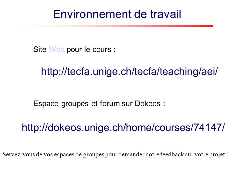 http://tecfa.unige.ch/tecfa/teaching/aei/ Site Web pour le cours :Web http://dokeos.unige.ch/home/courses/74147/ Espace groupes et forum sur Dokeos : Environnement de travail Servez-vous de vos espaces de groupes pour demander notre feedback sur votre projet !