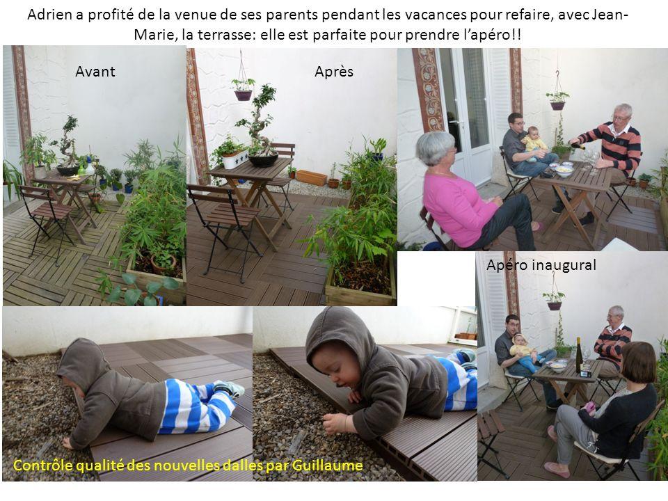 Adrien a profité de la venue de ses parents pendant les vacances pour refaire, avec Jean- Marie, la terrasse: elle est parfaite pour prendre lapéro!.