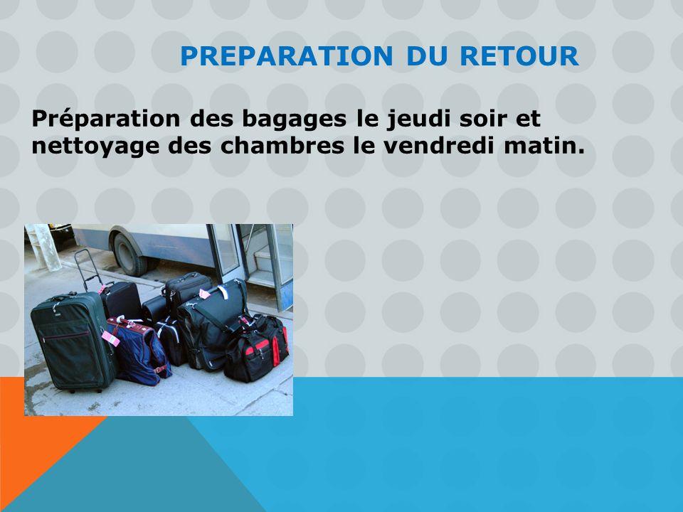 Préparation des bagages le jeudi soir et nettoyage des chambres le vendredi matin. PREPARATION DU RETOUR