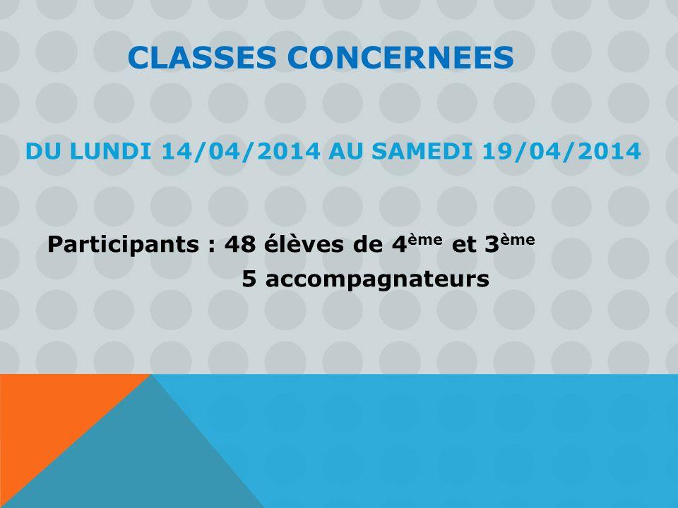 DU LUNDI 14/04/2014 AU SAMEDI 19/04/2014 Participants : 48 élèves de 4 ème et 3 ème 5 accompagnateurs CLASSES CONCERNEES