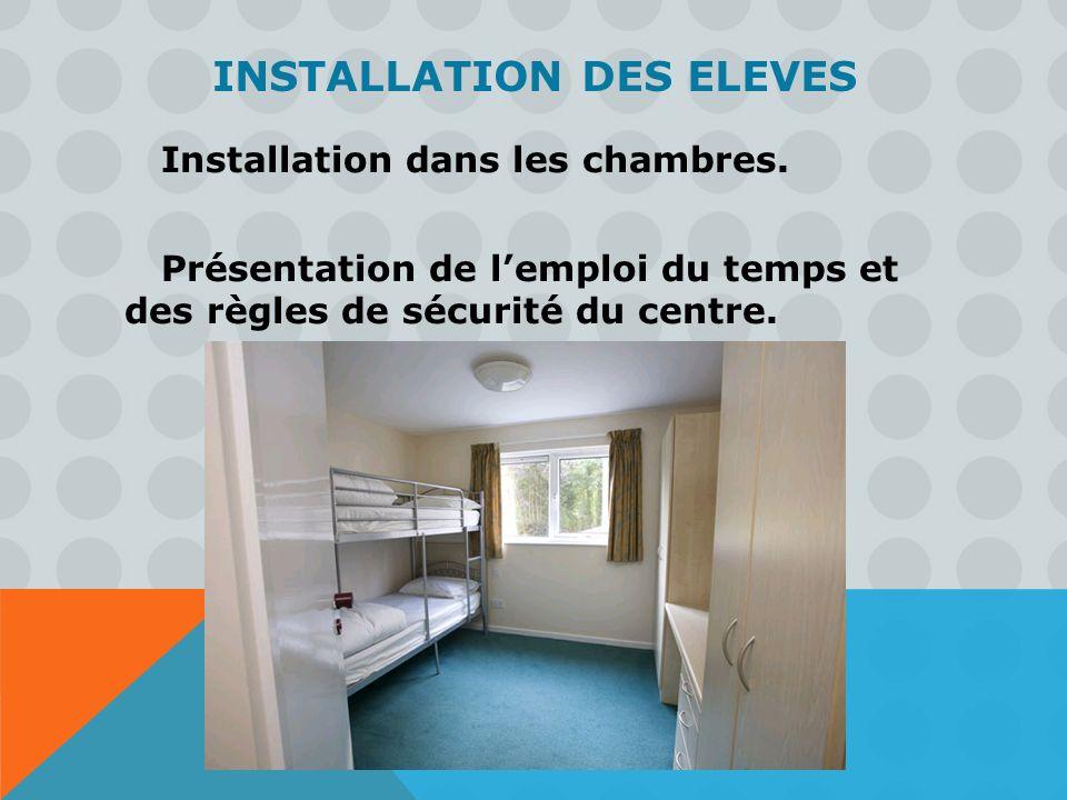 INSTALLATION DES ELEVES Installation dans les chambres. Présentation de lemploi du temps et des règles de sécurité du centre.