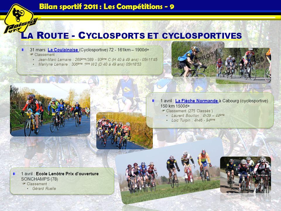Bilan sportif 2011 : Les Compétitions - 9 L A R OUTE - C YCLOSPORTS ET CYCLOSPORTIVES 31 mars: La Coulainaise (Cyclosportive) 72 - 161km – 1900d+ Clas