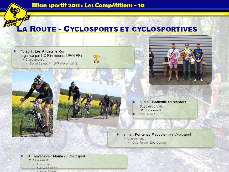 Bilan sportif 2011 : Les Compétitions - 10 L A R OUTE - C YCLOSPORTS ET CYCLOSPORTIVES 15 avril : Les Alluets le Roi organisé par UC Flin (course UFOL