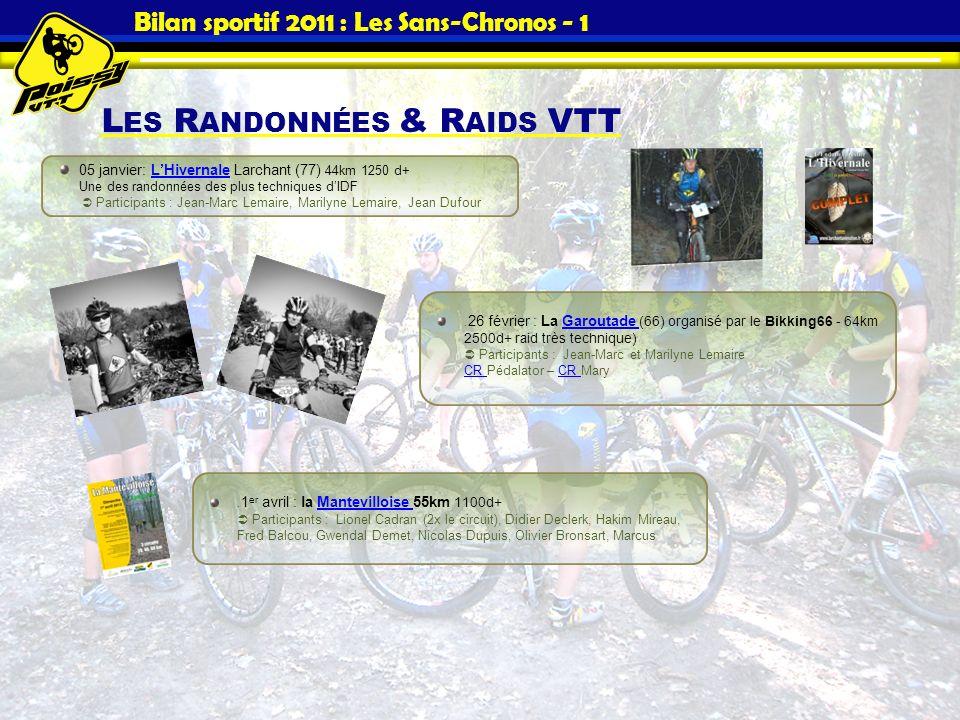 Bilan sportif 2011 : Les Sans-Chronos - 1 L ES R ANDONNÉES & R AIDS VTT 05 janvier: LHivernale Larchant (77) 44km 1250 d+ Une des randonnées des plus