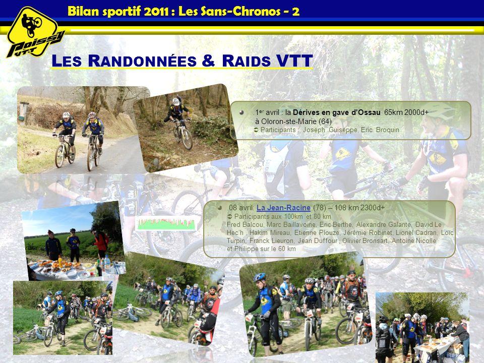 Bilan sportif 2011 : Les Sans-Chronos - 2 L ES R ANDONNÉES & R AIDS VTT. 1 er avril : la Dérives en gave d'Ossau 65km 2000d+ à Oloron-ste-Marie (64) P