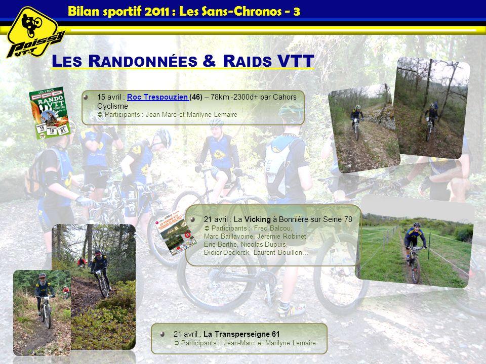 Bilan sportif 2011 : Les Sans-Chronos - 3 L ES R ANDONNÉES & R AIDS VTT 15 avril : Roc Trespouzien (46) – 78km -2300d+ par Cahors Cyclisme Participant