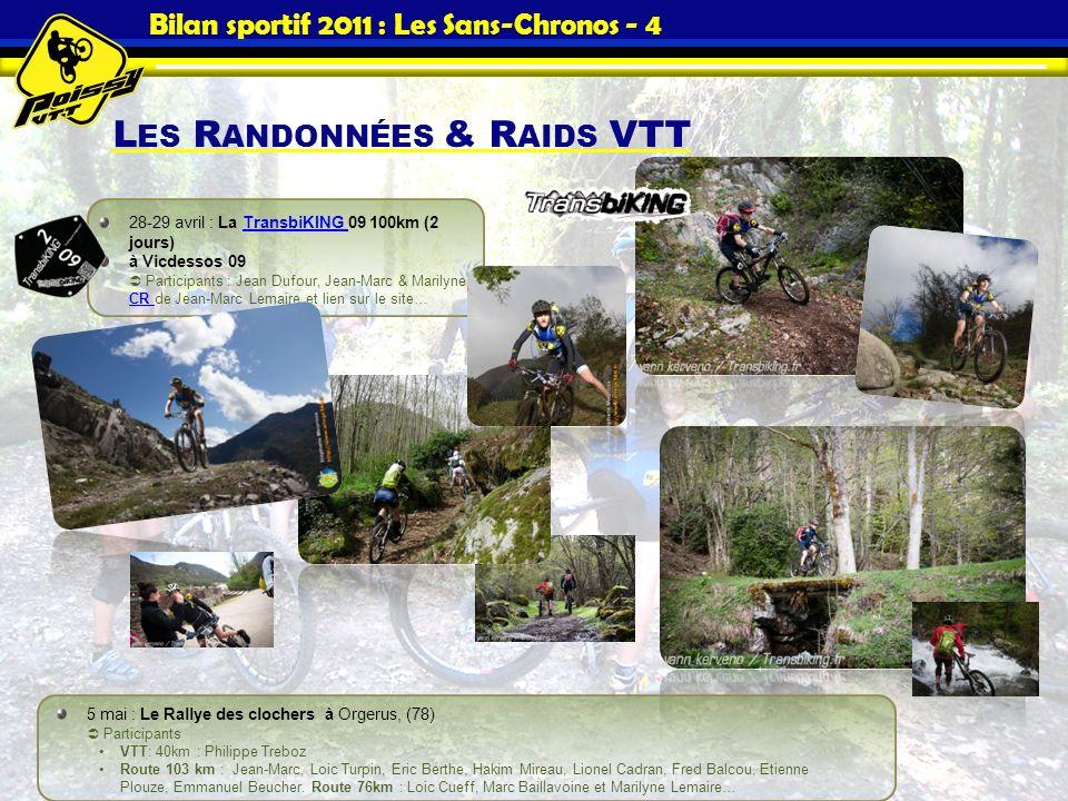 Bilan sportif 2011 : Les Sans-Chronos - 4 L ES R ANDONNÉES & R AIDS VTT 28-29 avril : La TransbiKING 09 100km (2 jours)TransbiKING à Vicdessos 09 Part