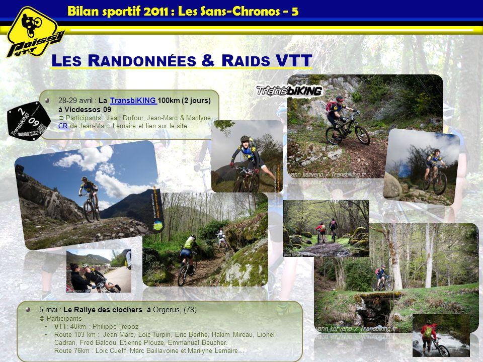 Bilan sportif 2011 : Les Sans-Chronos - 5 L ES R ANDONNÉES & R AIDS VTT 28-29 avril : La TransbiKING 100km (2 jours) à Vicdessos 09 Participants : Jea