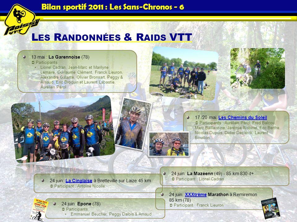 Bilan sportif 2011 : Les Sans-Chronos - 6 L ES R ANDONNÉES & R AIDS VTT 17 /20 mai: Les Chemins du Soleil Participants : Aurélien Pérol, Fred Balcou,
