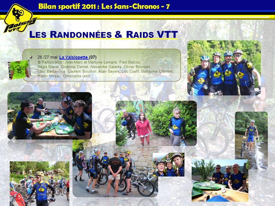 Bilan sportif 2011 : Les Sans-Chronos - 7 L ES R ANDONNÉES & R AIDS VTT 26 /27 mai: La Valslopette (07) Participants : Jean-Marc et Marilyne Lemaire,