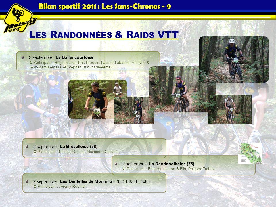 Bilan sportif 2011 : Les Sans-Chronos - 9 L ES R ANDONNÉES & R AIDS VTT 2 septembre : La Brevalloise (78) Participant : Nicolas Dupuis, Alexandre Gall